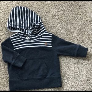 Baby GAP blue and white stripe hoodie with bear